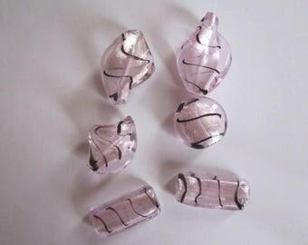 Purple striped pink murano style glass beads 10
