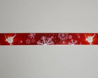 "Ribbon grosgrain red ""SNOWFLAKES"" 25 mm"