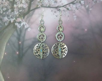 WASHERS, STAINLESS STEEL CHARMS EARRINGS SILVER
