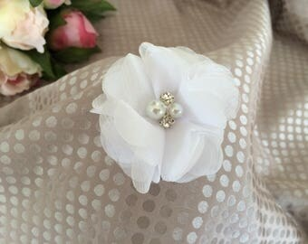 White chiffon flower brooch
