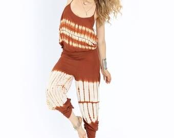 Set Me Free Set-  Hand Made Tye Dyed- Sunrise Orange; Beach / Yoga Wear
