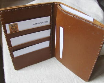 Leaves - brown leather card holder