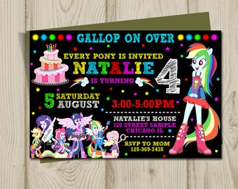 My Little Pony Invitation, My Little Pony Equestria Girls Invitation, Equestria girls birthday, equestria girls invitation,