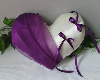Ivory plum purple heart ring bearer pillow