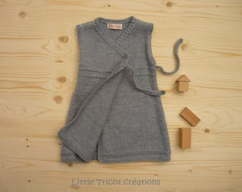 GRAY WOOL DRESS BEAD 12 MONTHS. HAND MADE