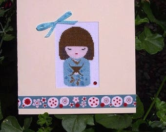 Hand embroidered card: turquoise blue doll with butterflies