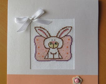 Hand embroidered card: White Rabbit