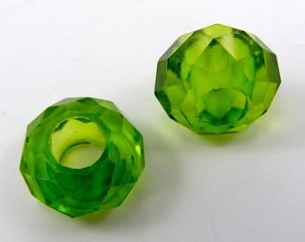 Set of 2 European beads 14 mm round faceted glass translucent Green