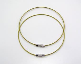 Set of 2 bracelets cable stiff diameter 68 mm khaki yellow