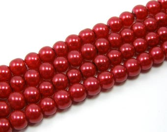 Set of 25 6 mm red Pearl glass beads