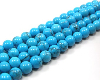 Natural turquoise set 6 mm gemstone beads of 10