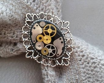 Ring oval decor lace Steampunk watch parts and resin