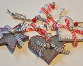 5 Christmas ornaments hanging heart and Star