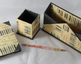 Desk set, letter-rack, book notebook, pencil holder, feather writing