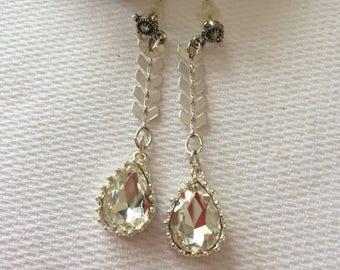 long fine pierced silver rhinestone earrings set