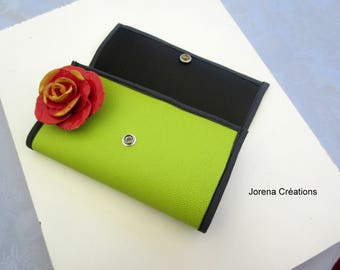 Wallet is Mint green, black and grey leatherette