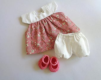 Whole dress, bloomers and booties for baby 30 cm