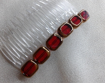 Transparent hair comb with red decor