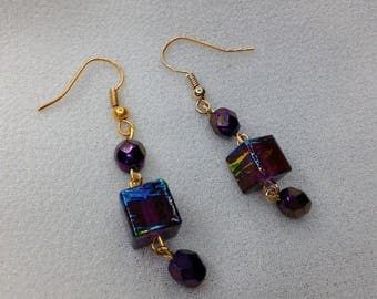 Plum and gold cube glass bead dangle earrings