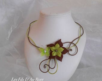Melody in chocolate & lime green necklace