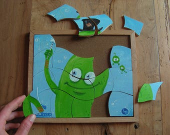 Kids puzzle - little green monster - handmade