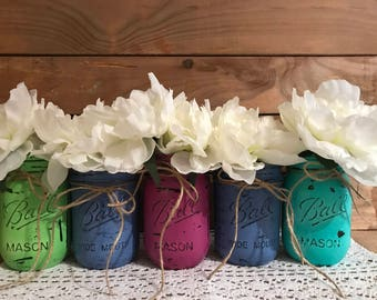 Set of 5 hand painted & distressed Ball Mason jars