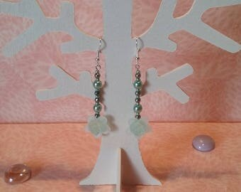 Earrings - Crystal pink green