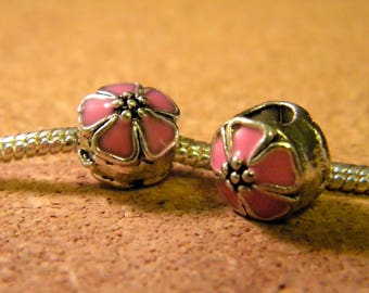 bead charm European-style pandor@-10 mm - spray-painted European bead - pink enamel cherry blossom - C54