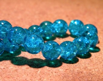 glass Crackle 8 mm - dark turquoise - PF62 20 beads