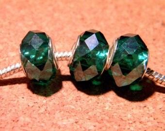 3 bead charm European-14 x 10 mm Green Emerald D105 14 faceted glass