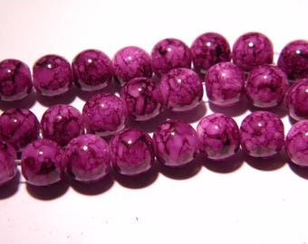 50 glass beads marbled - 8 mm purple marble black-PG76