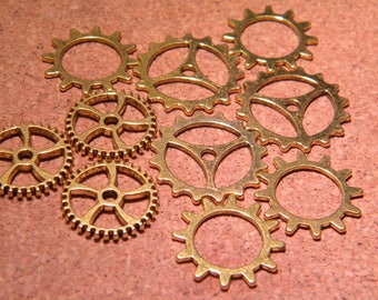 10 charms gear COG steampunk pendant - gold of 18.5 mm to 25 mm - B03B