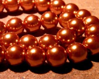 40 beads iridescent mother of Pearl glass 10 mm - caramel honey PF101 8