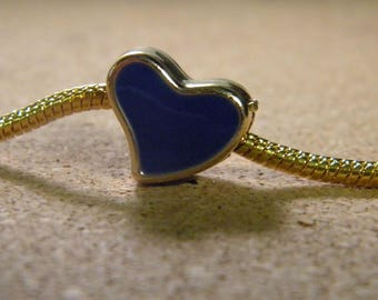 10 Pearl charm European-15 mm gold heart Pearl enameled - royal blue - C61