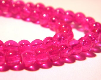 100 4 mm glass beads - Crackle Glass - fuchsia hot - G97 - 1 - 4 mm - Crackle glass bead