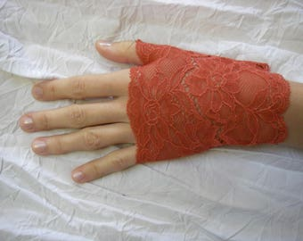 Orange coral lace fingerless gloves