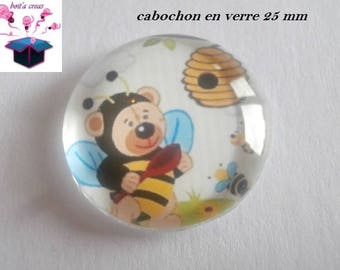 1 cabochon clear 25 mm Teddy bear theme