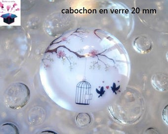 1 cabochon clear 20mm cage birds theme