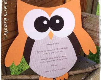 Menu for table decoration OWL shaped