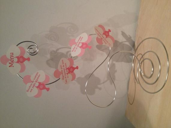 Häufig 3 Menus mariage original fil aluminium thème orchidée rose et OR89