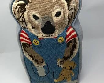 Vintage embroidered Koala bear decorative pillow