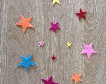 Set of adhesive stars - custom name - wood letters