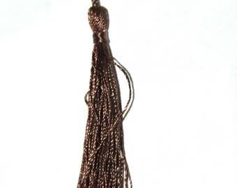 Brown cotton yarn tassel twisted 12 cm x 1.5 cm.