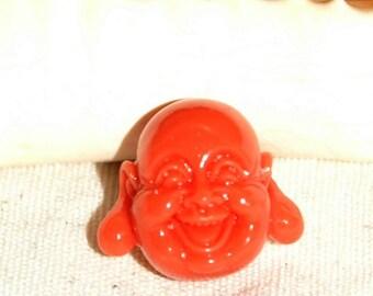 New 18 mm Plastic Pearl orange or coral Chinese Buddha head