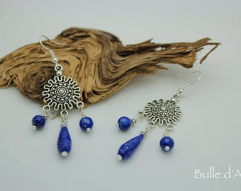 Long earrings with Lapis lazuli stones