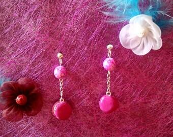 fuchsia fimo macaroon earrings