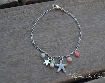 Pink sea star and coral bracelet