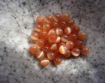 Set of 25 orange 4mm cat eye beads