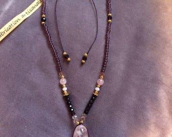 Rose Quartz necklace high quality