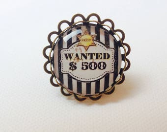 "Ring retro humor Sheriff ""wanted"" glass cabochon 25 mm, black and white"